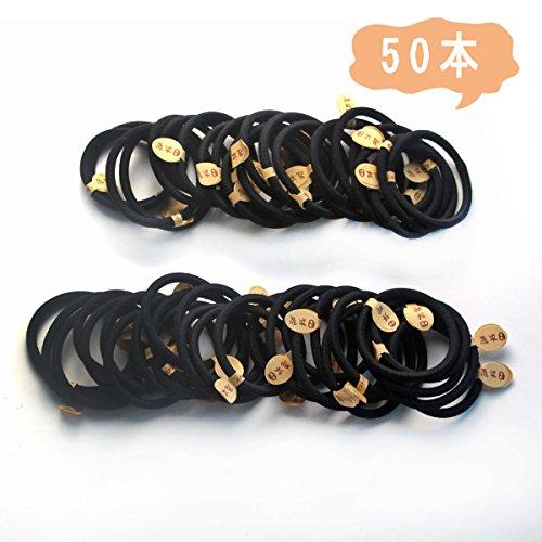 [해외]ANNA `S SHOP 블랙 헤어 고무 링 고무 매듭없이 대용량 50 개 세트 직경 5cm 두께 0.4mm/ANNA`S SHOP Black hair rubber ring Rubber knot High capacity 50 pieces Set diameter 5 cm thick 0.4 mm