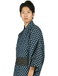 東レシルック 着物 反物 洒落小紋 市松 紺×ブルー 仕立て上がり 単衣