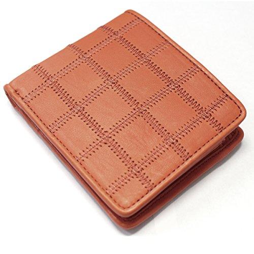 TRION トライオン 二つ折り財布 メンズ レディース 牛革 グローブレザー パッチワーク ダークタン 【P802】