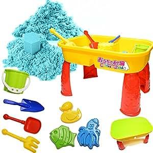 室内砂遊びの決定版 chirakasand 【 チラカサンド (1kg) & テーブル セット 】 安全基準CE取得済 【 型 バケツ スコップ 付き 】 不思議な砂 ふしぎな砂 砂場 セット 砂 おもちゃ 室内 砂遊び (ブルー)