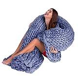 アームニットブランケットChunky Knitted Throw Knitting ExtremeニットブランケットGiant Oversized Heavy LargeニットThrowクリスマスギフトIdea by QISc (ブルー39.37x39.37」)
