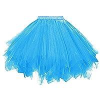レディース チュチュスカート フリフリペチコート 多重チュールボリューム感スカート 長さ45cm (青, S)