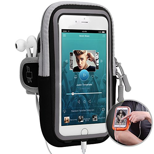 itDEAL 改良版 ランニング アームバンド スマホ スポーツ iPhoneX iPhone7 plus iPhone8 plus Galaxy S8 など6.0インチまでに対応 夜間反射 ケース スマホ タッチOK 防汗 軽量 調節可 通気性 小物収納(ブラック)