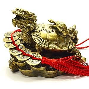 風水 龍亀 ロングイ ろんぐい 銅製の置物大 招財守護の六帝古銭付き