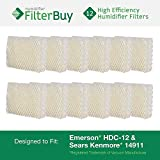 Emerson HDC-12 (HDC12) & Sears Kenmore 14911 Replacement Humidifier Wick Filters. Pack of 12 Filters. Designed by FilterBuy. by FilterBuy