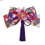 和装髪飾り リボン 花 蝶 クリップ つまみ細工 かんざし 和装 着物 成人式 卒業式 結婚式 袴 浴衣 (紫)