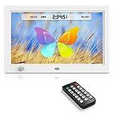 デジタルフォトフレーム 10.1インチ 12 インチ デジタルフォトフレーム1024 × 800 HD解像度LED 液晶!【高画質/写真や動画だけでなく、音楽やカレンダー機能も搭載】日本語説明書付き(ブラック, 白) (12 インチ, White)