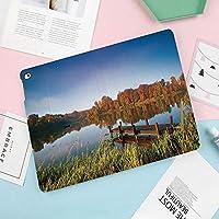 iPad Pro 10.5 ケース/iPad Air 2019 ケース(Air3)高級ソフトPUレザー製 iPad 10.5 カバー オートスリープ&スタンド機能付き ひび割れ防止 防衝撃デザイン 手帳型10.5インチタブレットスマートケース カバー木々や葦のアート写真をテーマにしたレイクビュー釣りの田園地帯