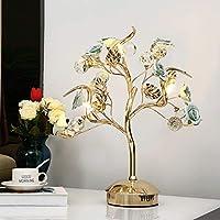 NJ テーブルランプ- セラミックフラワーテーブルランプベッドルームベッドサイドランプスタディルームリビングルームホテルヴィラ贅沢な装飾照明 (色 : 青, サイズ さいず : 43cm*50cm)