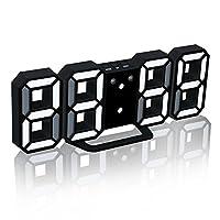 EAAGD 多機能 電子 3D 8888 LEDデジタル目覚まし時計 掛け時計、12H / 24H時間表示 自動調節可能のLED明るさ 家の装飾卓上時計 新年の贈り物 (ブラック本体+ホワイトライト)