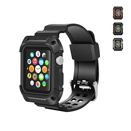 【WAfeel】Apple Watch アップルウォッチ通用バンド + ケース 高品質TPU素材使用 全3色 一体型 脱着簡単 耐衝撃 (42mm, ブラック)