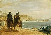 Edgar Degas - 海のそばのプロムナードPromenade beside the Sea 油絵 キャンバス 木枠なし 120X80 cm - 馬に乗って 絵画 複製画 印刷 美術品 壁掛け