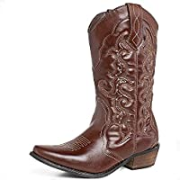 SheSole Womens Cowboy Cowgirl Western Wide Calf Boots