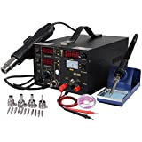 Yescom 853D 3in1 Soldering ReWork Station SMD Solder Iron Hot Air Gun & DC Power Supply