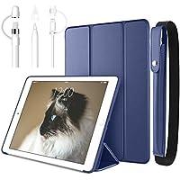 【5点セット】DTTO 新しい iPad 9.7 2018/2017 汎用ケース とApple Pencil ケース とキャップ3点セット 生涯保証 TPU ソフト スマートカバー 三つ折り スタンド [オート スリープ/スリープ解除] 2018年と2017年発売の新しい9.7インチ iPad 対応(モデル番号A1822、A1823、A1893、A1954) ネイビーブルー5点セット