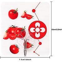 フルーツグラフィック フック 壁掛けフック クリア 超強力粘着フック キッチンフック 繰り返し使用可能 貼り付け跡なし 防水 耐荷重10KG 12個(トマト)