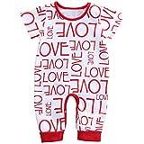 ベビー服 カバーオール ロンパース 赤ちゃん 英語「LOVE」柄 綿 肌着 保温 可愛い 女の子 男の子 パジャマ ボダー 下開き 普段着 出産祝い プレゼント 赤&白 0ー18ヶ月 (70)