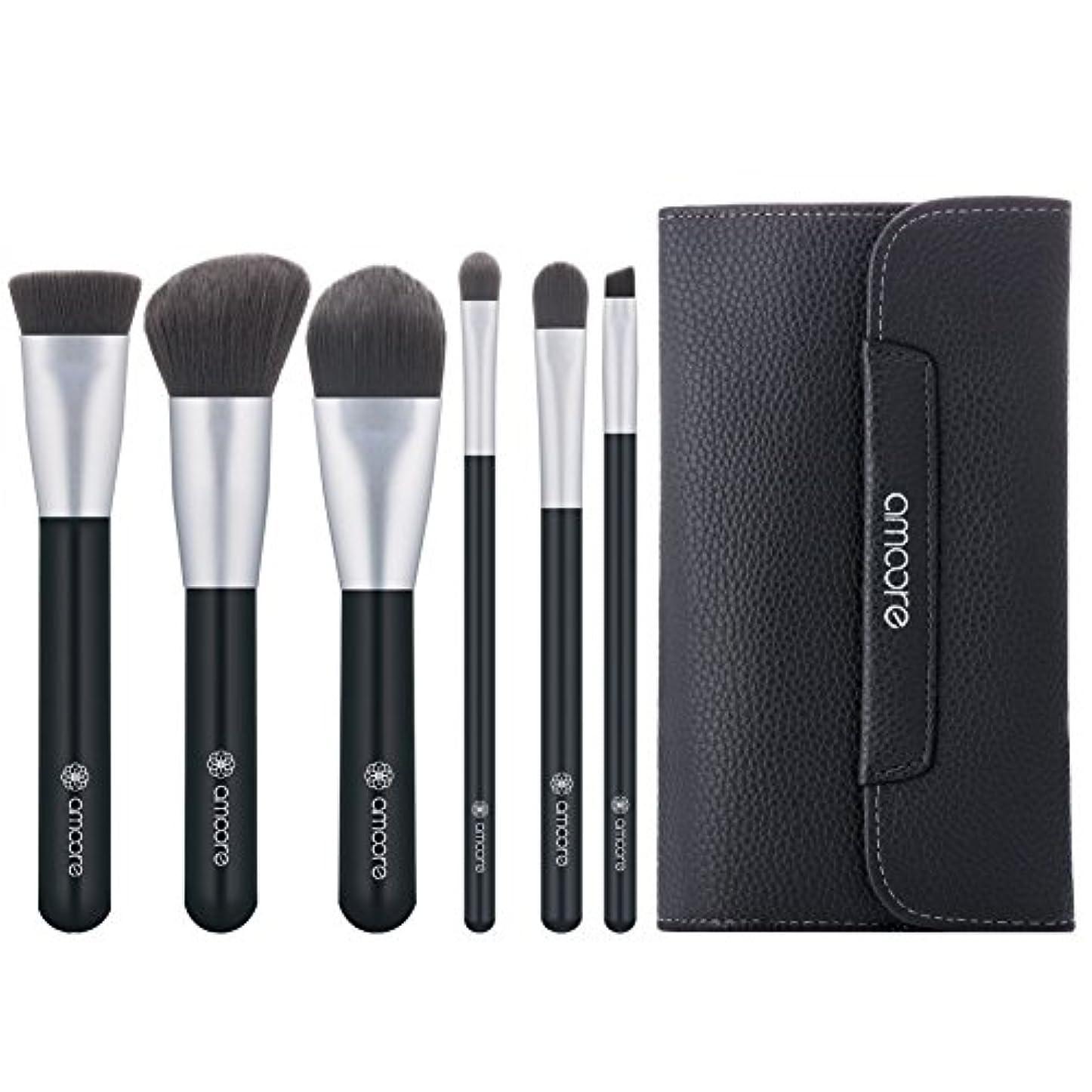 複雑な筋楕円形amoore 6本 化粧筆 メイクブラシ 化粧ブラック セット 粉含み抜群 化粧ポーチ付き (6本, ダークグレー)