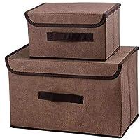 収納ボックス 蓋付き収納キューブ収納容器 蓋付きオーガナイザー 積み重ね可能な収納容器 蓋付き 布製ボックス付き 折りたたみ式収納箱 折りたたみ式バスケット ベッドルーム おもちゃ 衣類 オフィス織り ブラウン