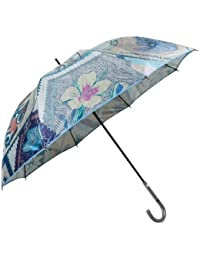 【EPICE】エピス 日本製「UVカット加工」バタフライ切手プリント 婦人長傘(雨傘) 青