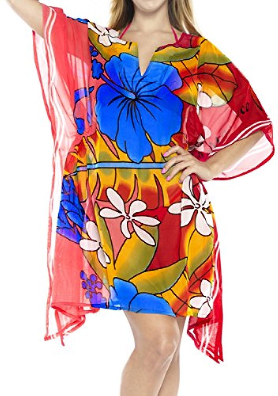 ハイビスカス柄女性用着物Caftan伸縮性ビーチ水着ビキニカバーアップブラウス