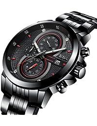 腕時計、メンズ腕時計、エレガントなビジネススタイルカジュアルスポーツ腕時計カレンダー多機能ステンレススチールクロノグラフウォッチ