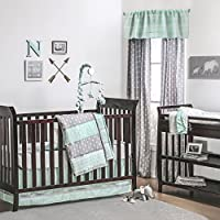 Mint Green and Grey Arrow Stripe 4 Piece Baby Crib Bedding Set by The Peanut Shell by The Peanut Shell