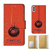 [mobile88] 手帳型 全機種対応 (選択) iPhone X 手帳カードタイプ トマト フルーツ ビンテージ 手描きアート スマホケース 携帯カバー スマホカバー t314