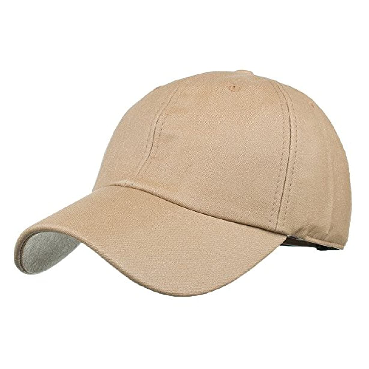Racazing Cap PU 無地 ヒップホップ 野球帽 通気性のある 帽子 夏 登山 可調整可能 棒球帽 UV 帽子 軽量 屋外 Unisex Hat (カーキ)