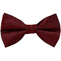 Bullidea Men's Pure Plain Bowtie Adjustable Solid Color Pre Tied Bow Tie for Wedding Party Polyester Red