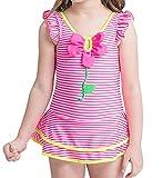 YY-Natuhi ベビー 女の子 水着 ワンピース 幼児 子供 ビキニ セパレート キッズ スクール かわいい ガールズ スイムウェア 女児水着 水泳 UVカット80~120cm 海水浴 フレア ストライブ柄 (100cm(体重17.5~20kg))