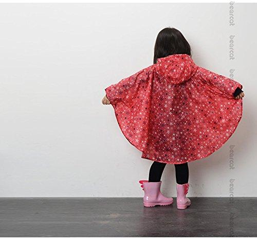 EZOM 超軽量 かわいい キッズ レインコート 撥水加工 レインウェア ポンチョ かっぱ 子供 男女兼用 収納袋付き (L, レッド)