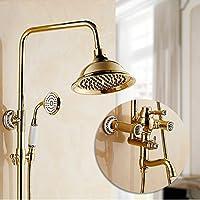 LJ ヨーロッパスタイルの金メッキシャワーセットフル銅の蛇口レトロハンドシャワートップスプレー (サイズ さいず : C)
