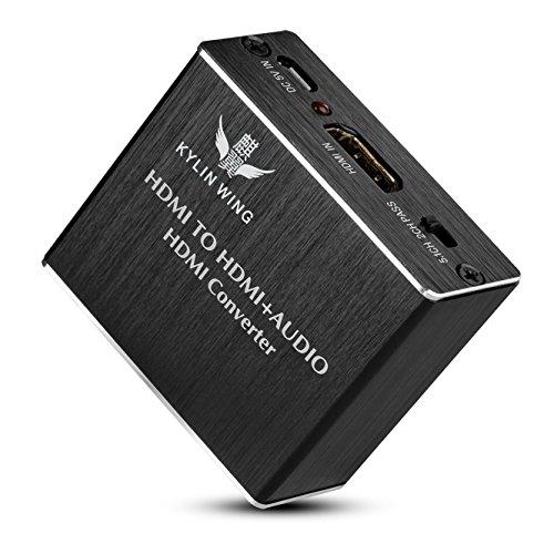 KYLIN WING【工場直販】高速 4Kx2K HDMI分離音声 hdmiデジタルオーディオ分離器 光デジタル/アナログステレオRCA出力 HDMIサウンド分離器 hdmi 分配器 HDMI 音声分離器(入力:HDMI →出力:HDMI/SPDIF/RCA) PS3/PS4/XBOX/DVD/HDプレヤー/cable box/Apple TV /Chromecast対応.【台湾チップ★優秀な★名声】【付き 光ファイバtoslink接続線】 [並行輸入品]