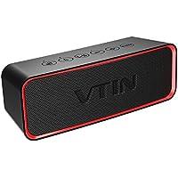 VTIN Bluetoothスピーカー ワイヤレススピーカー 重低音スピーカーbluetooth IPX6 防水規格 ポータブルスピーカー アウトドア 12時間連続再生 モバイルスピーカー Bassアップ技術 ブルートゥーススピーカー コンパクト 18か月保証付き 赤-黒