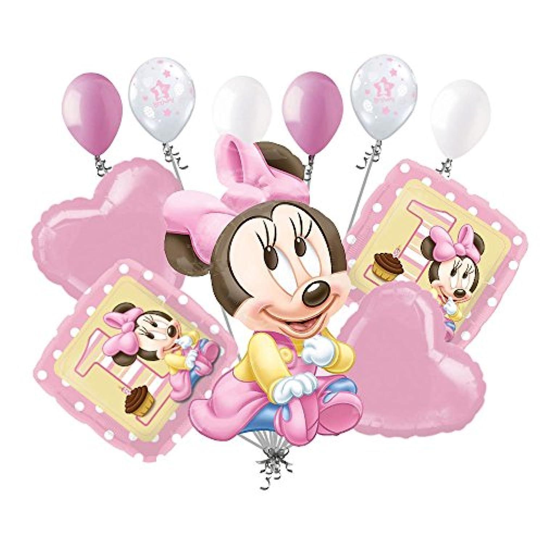 11 pc 1st Baby MinnieマウスHappy誕生日バルーンブーケパーティーピンクDisney
