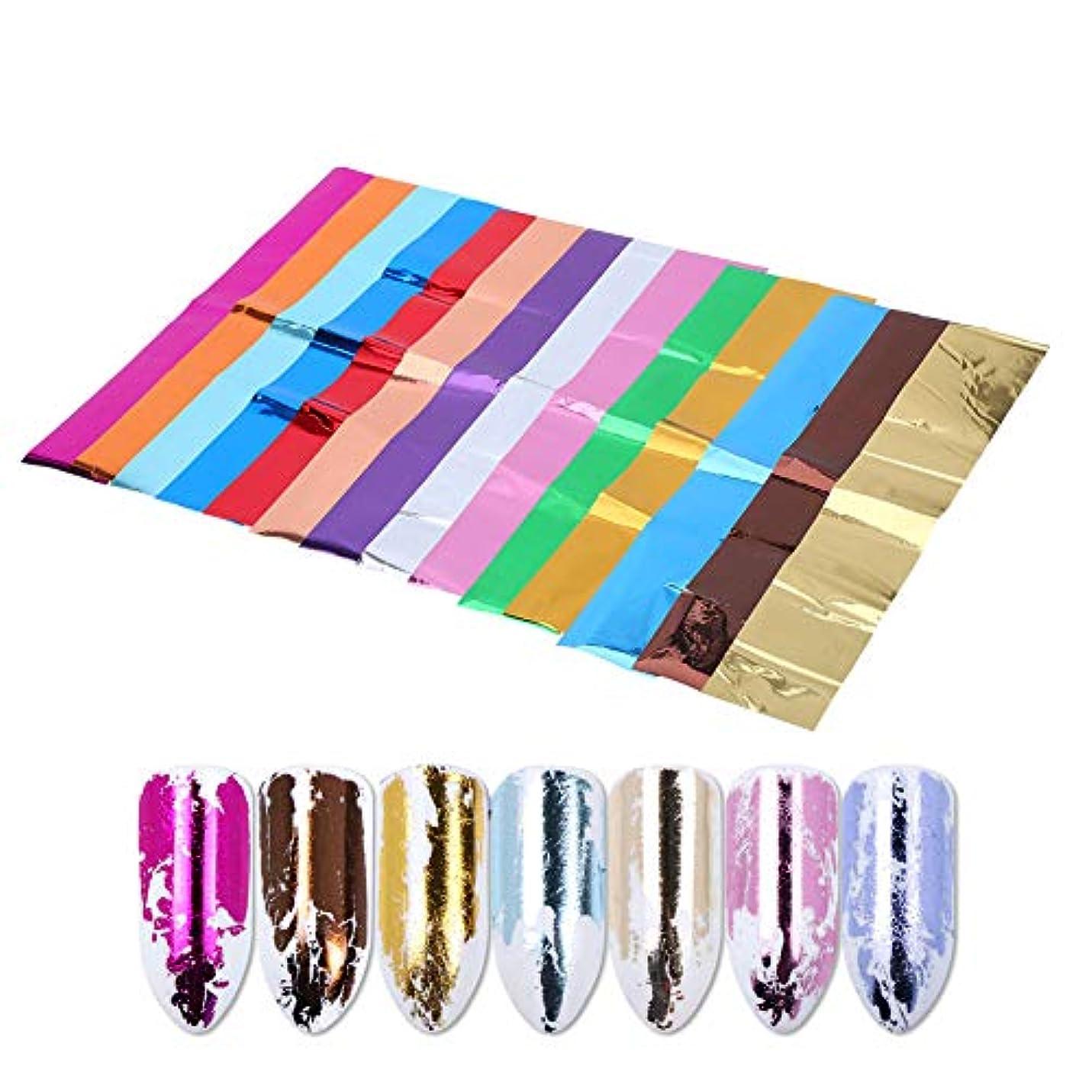 ブルジョンビーズ目を覚ますソリッドカラーのネイルアップリケ、偽ネイル用の光沢のある装飾的なステッカーの14個/セット