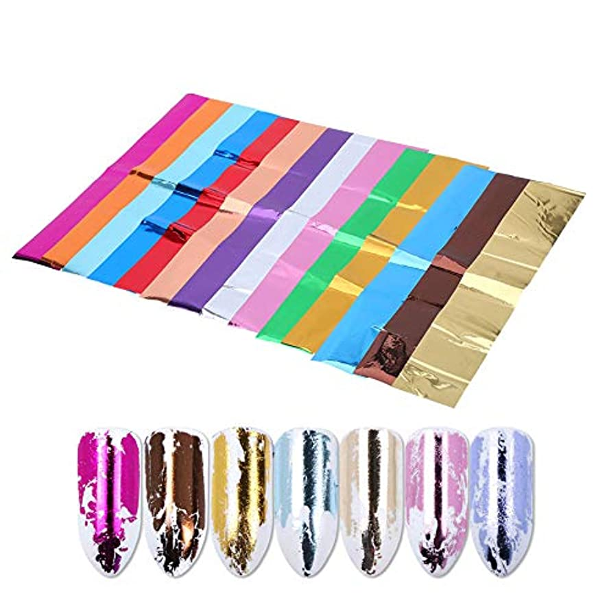 ハンマーエッセンス代わってソリッドカラーのネイルアップリケ、偽ネイル用の光沢のある装飾的なステッカーの14個/セット