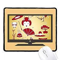 赤と黄色の白いカップ寿司 マウスパッド・ノンスリップゴムパッドのゲーム事務所