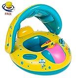 Ungfu Mall 赤ちゃん 浮き輪 足入れ式 屋根付き 日焼け予防 ベビー 水遊び プール 海用
