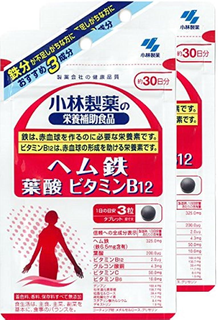 自動化記者リーチ【まとめ買い】小林製薬の栄養補助食品 ヘム鉄 葉酸 ビタミンB12 約30日分 90粒 ×2個