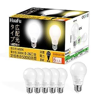 LED電球 e26 電球60W形相当 消費電力8W 電球色 3000K 非調光 広配光タイプ 雰囲気良い光 長寿命 LED照明 LED節電 全方向タイプ 6個セット(電球色)