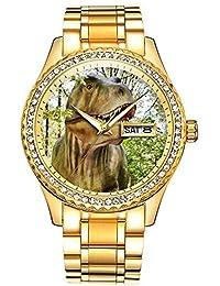 ダイヤモンドゴールドメッキウォッチルミナスラグジュアリー防水ユニークなゴールド腕時計 131. 恐竜の腕時計