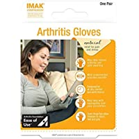 IMAK Compression Arthritis Gloves, Relieves Arthritic Aches, Pain, & Joint Swelling, Open Fingertip Gloves Provide Compression, Warmth, & Comfort, Increases Poor Circulation, Large, Pair, Up to 10.16cm