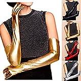 CREA セクシー ロング グローブ 手袋 スパンデックス ラテックスラバー 光沢 レザー 調 ( 金 ゴールド 44㎝ )