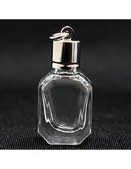 ミニ香水瓶 アロマペンダントトップ エメラルド型(透明 容量1.2ml)×穴あきキャップ シルバー