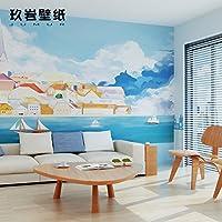 HANHUAN アールデコ様式のフレスコ画の壁紙の壁画防水カスタマイズ可能なサイズの東洋のシームレスな壁のダマスク織のシルクのテレビの背景の家の装飾のロマンチックな水 Citynon-Toxic 環境保護バスルーム/レストラン/バー/ホール/リビングルーム/玄関/キッチン/オフィス/ベッドルーム、 450 x 315 cm