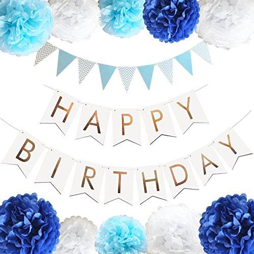 誕生日 飾り付け 装飾 セット バースデー ガーランド ペーパーフラワー フラッグガーランド ブルー