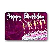 お誕生日おめでとうケーキキッズギフトカスタム機洗えるドアマット屋内屋外ハウスドアマット23.6 x 15.8インチ