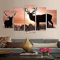 WZYWLH 家の装飾リビングルームの壁アートHDプリント写真5ピース/個エルクカップル日没現代絵画キャンバスポスターフレーム